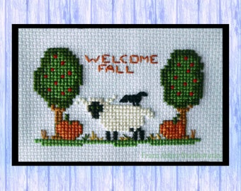 Welcome Fall, Little Sheep Cross Stitch Chart, Instant PDF Download, Original Design from Scotland