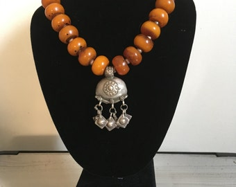 Amber, Silver, India, Necklace, Vintage