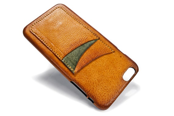"""iPhone 6 PLUS 5.5"""" leather credit card case (choose # of slots and Accent) col BRANDY"""