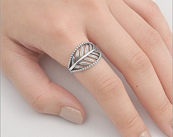 925 Sterling Silver Leaf Band Ring