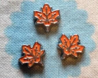 Maple leaf floating locket charm