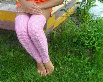 Pink leg warmers, gaiters, high socks