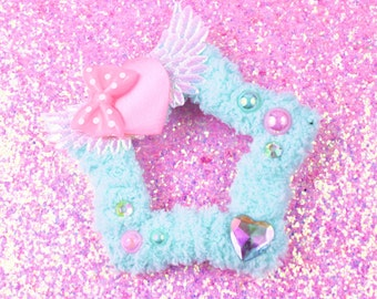MADE TO ORDER-Sweet Lolita Hair Accessory-Fairy Kei Accessory-Women's Hair Accessory-kawaii accessory-Lolita head accessory-mint-angel wings