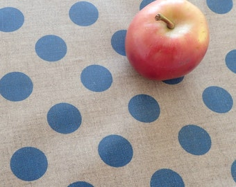Placemats, Set of 6, Linen Placemats, Blue Polka Dot, Waterproof, Wipe Clean Table Mats