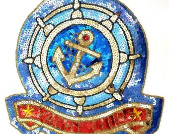 "Sale! Yacht Club Applique, Sequin Beaded, 12""  -B339-B347-0387-0424"