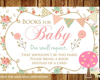 Book Request Cards, Please Bring a Book instead of a Card, Shabby Chic Baby Shower, Peach and Mint, Peach and Gold, INSTANT DOWNLOAD
