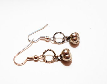 PUMPKIN EARRINGS - surgical stainless steel non allergic hypoallergenic sensitive ears ear wires