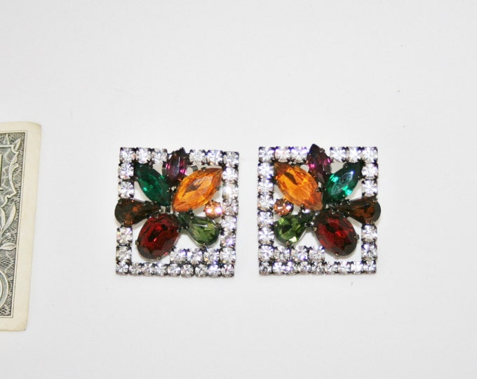 Vintage 1950's Large Rectangular Rhinestone Earrings