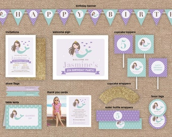 Girl Mermaid Birthday Package, Invitation and Party Decor, Purple and Glitter, DIY Printable