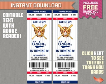 Baseball Ticket Invitation with FREE Thank you Card! (Option B) Baseball Party Invitation - Edit and print with Adobe Reader
