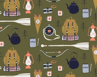 Camping Fabric - Dear Stella Camping Supplies cotton fabric in green
