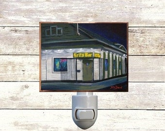 "Night Light, ""Grit's Bar"", New Orleans Icons, Handmade, Copper Foiled"