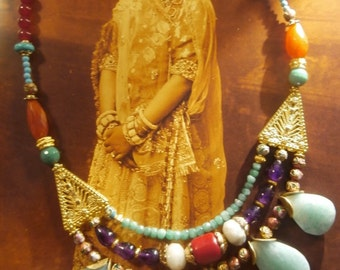 """Rhapsody in India"" semiprecious stones, OOAK necklace"