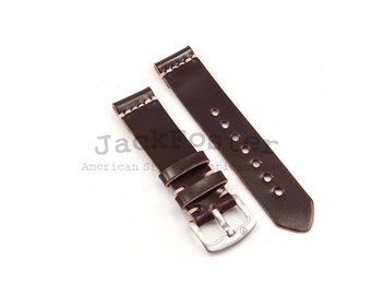 Horween Color #8 Shell Cordovan Watch Strap Thumbnail Buckle Handmade