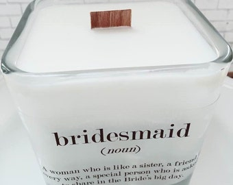 NEW Bridesmaid Soy Candle ~ Bridesmaid Gift~Bridesmaid Favors~Maid of Honor Gift~Bridesmaid Thank You~Spring Weddings~Bridal Favors~