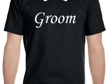 Groom with Bow Tie Wedding Black T-shirt