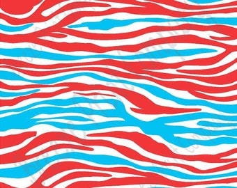 Red, cyan and white zebra print craft  vinyl sheet - HTV or Adhesive Vinyl -  pattern vinyl HTV1233