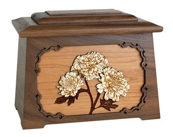 Walnut Mums Astoria Wood Cremation Urn