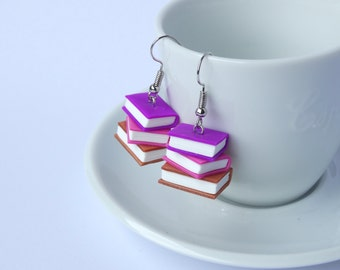 Book earrings dangle stack purple pink copper glitter books polymer clay