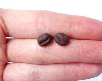 Coffee bean ear studs earrings coffee caffeine miniature food earstuds coffee post earrings present coffee lover