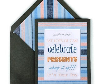 "Celebrate No.1 Birthday Card Happy Birthday Birthday for Him Card Stock Lined Envelopes 5"" X 7"""