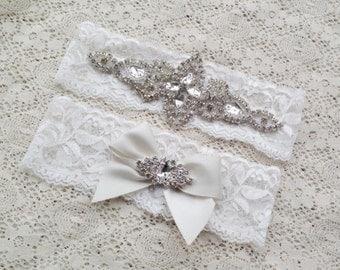 Bridal garter set. Crystal rhinestone lace garter.
