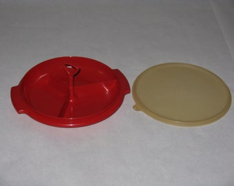 Vintage Tupperware relish dish tray with lid handle red plastic