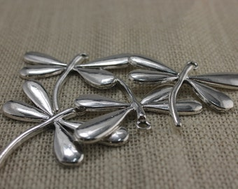 Large Pewter Silver Dragonfly Pendants (3 Pieces)