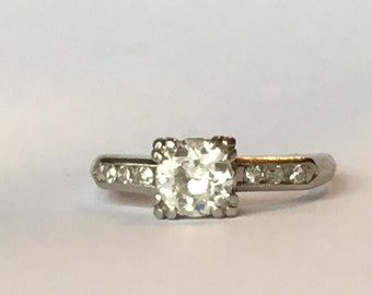 Vintage Diamond Engagement Ring with .50 CT Center Stone with F color. Art Deco Platinum Setting . April Birthstone. 10 Year Anniversary.