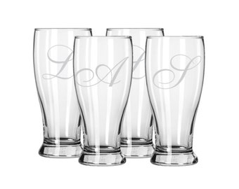 Set of 4 Etched Beer Glasses