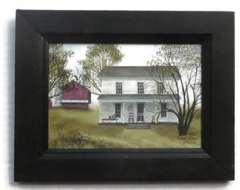 Farm House and Barn, Summer Afternoon, Billy Jacobs, Art Print, Country Decor, Wall Hanging, Handmade, 7X9, Custom Wood Frame, Made in USA