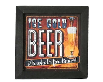 Beer Sign, 'Ice Cold Beer', Man Cave Sign, Funny Sign, Bar Decor, Art Print, Wall Hanging, Handmade, 7X7,  Real Wood Frame, Made in the USA