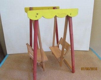 Vintage Strombecker Doll Furniture Wood Glider Swing