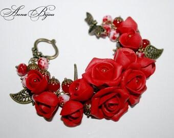 SALE 20% Polymer clay jewelry. Handmade polymer clay flower bracelet.
