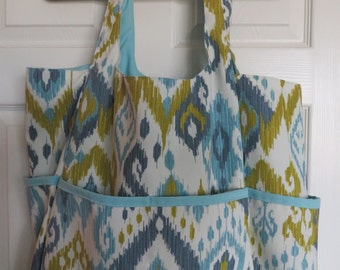 Beach Bags by Photo-Totes - Aqua/Green Ikat