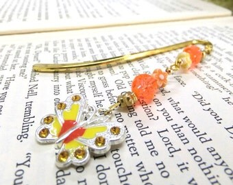 Orange and Yellow Butterfly Bookmark, Beaded Bookmark, Metal Bookmark, Orange and Yellow Bookmark, Student Gift, Teachers Gift, Book Lovers