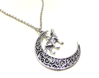 SALE! Antique Silver Moon and Howling Wolf Necklace, Crescent Moon Necklace, Celestial, Wolf Charm, Animal Necklace, Totem Animal Necklace