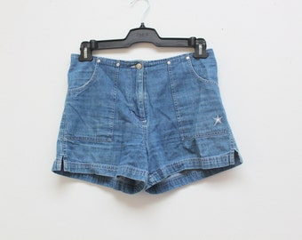 "SALE 90's ""Girl Star"" Club Kid High Waisted Denim Shorts"