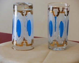 A Pair of Blue & Gold Frosted 10-oz. Glasses