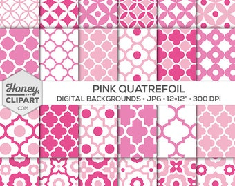 Digital paper: pink circles, pink quatrefoil, seamless patterns, background clip art, pink moroccan printable, pink lattice, pink trellis