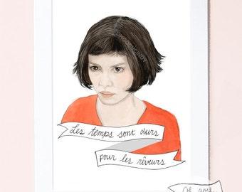 Amélie Poulain watercolour portrait illustration PRINT Audrey Tautou