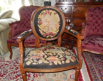FRANCE ANTIQUE NEEDLEPOINT Chair