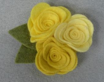Yellow Flower Pin - Flower Brooch - Felt Brooch - Felt Flower - Felt Pin - Felt Jewelry - Flower Jewelry - Artificial Flower - Fake Flower