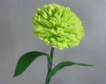 Green Carnation Stem - Artificial Flower - Fake Flower - Felt Flower - Felt Carnation - Fake Carnation - Artificial Carnation