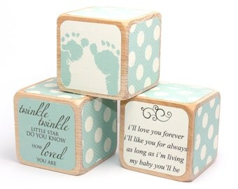 Shabby Chic Baby Boy - Shower Decoration - Nursery Room Decor - Personalized Blocks - Baby Shower Gift - 2 Inch