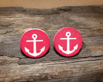 Anchored Sea Wooden Earrings