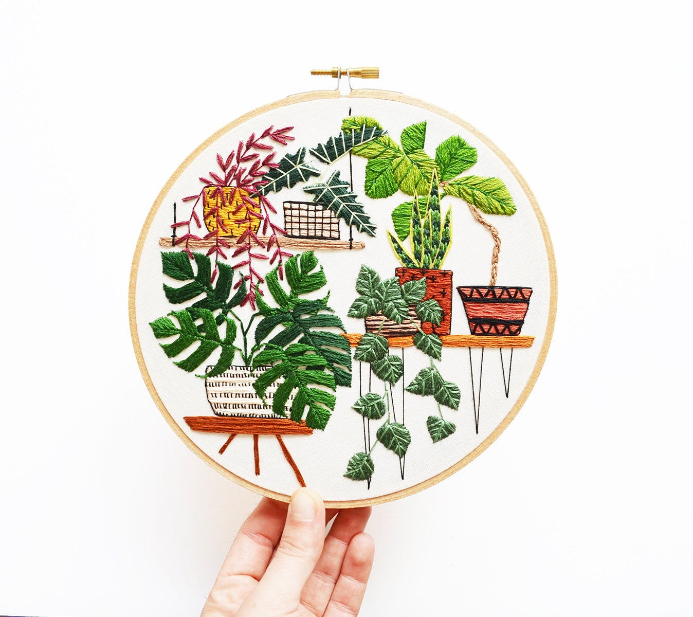Modern Hand Embroidery Hoop Art 7 Inch Potted Jungle