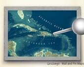 Caribbean Map Dark Ocean Blues | Pin Map | Caribbean Nautical Style Map | Ocean Cruise Map| Travel Pin Map