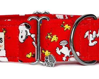 "Noddy & Sweets Adjustable Martingale Collar [1"", 1.5"" 2"" Snoopy Oh Joy! Red]"