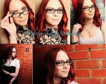 Robyn Lees Red Head & Glasses Hand Signed Model Prints. Modeling Photograph Options #4